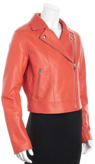 ALEXANDER WANG Orange Pebbled Leather Motorcycle Jacket