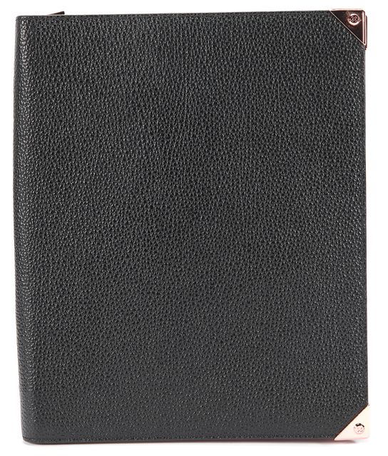ALEXANDER WANG Black Pebble Leather Prisma Rose Gold Tone Metal IPad Tablet Case