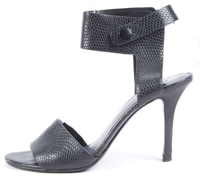 ALEXANDER WANG Black Animal Print Textured Sandal Heels