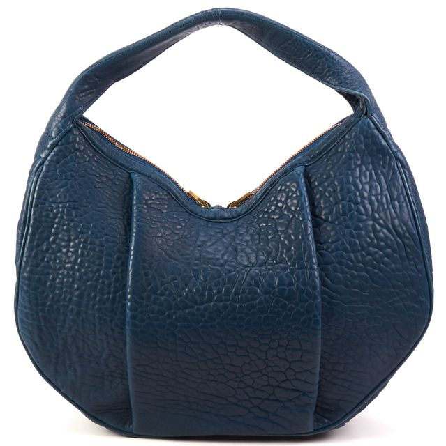 ALEXANDER WANG Teal Blue Pebbled Leather Morgan Hobo Bag