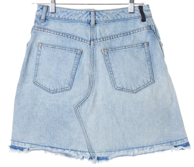 ALEXANDER WANG Light Blue Denim Pleated A-Line Skirt