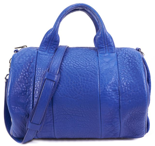ALEXANDER WANG Royal Blue Textured Leather Silver-Tone Hardware Rocco Satchel