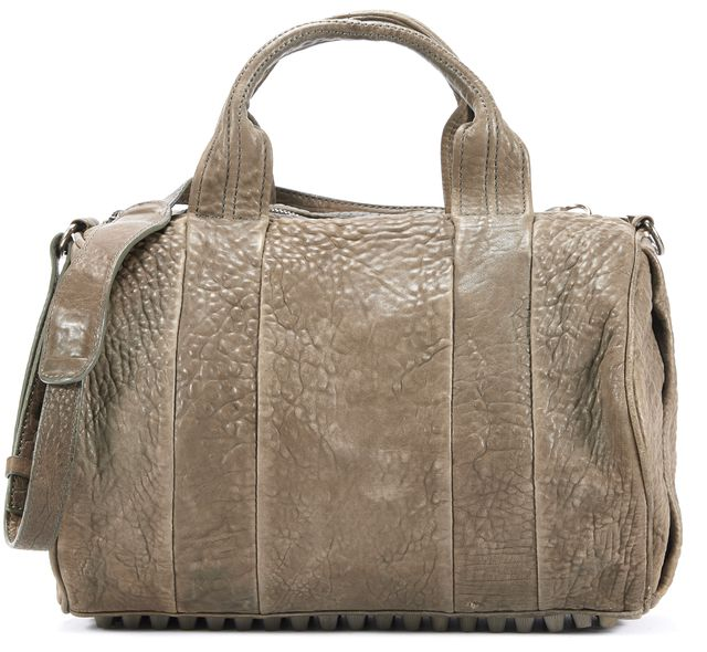 ALEXANDER WANG Olive Green Pebbled Leather Rocco Satchel Bag