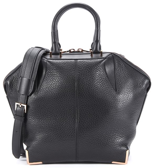 ALEXANDER WANG Black Pebble Leather Hexagon Small Emile Satchel