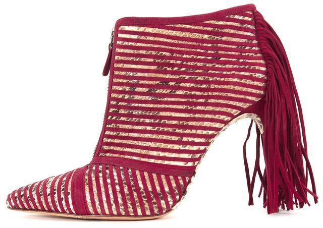 ALEXANDRE BIRMAN Brown Red Suede Embossed Leather Fringe Zip-up Booties