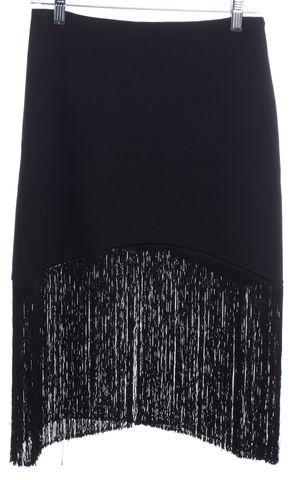 ALEXIS Black Fringe Mini Skirt Size S