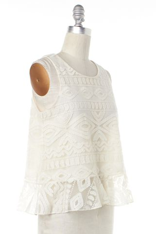 ALEXIS NEW NWT Ivory Lace Santorini Ruffled Top Size XS
