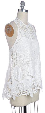 ALEXIS White Crochet Sleeveless Top