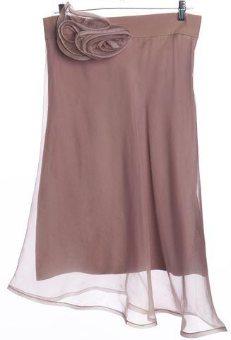 ALEXIS Mauve Pink Layered Silk Straight Skirt
