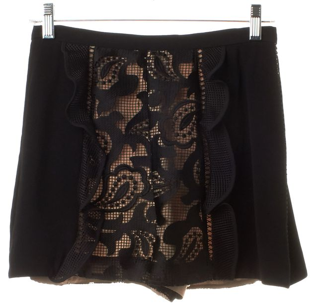 ALEXIS Black Lace Embroidered Ruffled Shorts