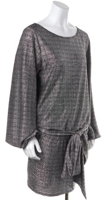 ALEXIS Silver Metallic Belted Drop Waist Blouson Mini Dress