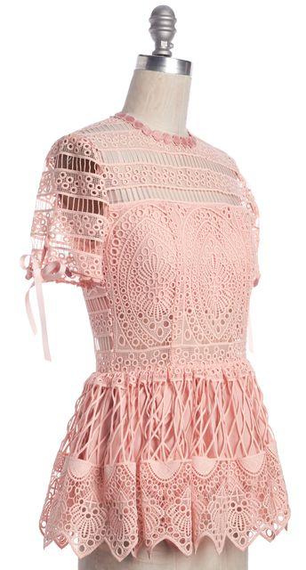 ALEXIS Pink Crochet Lace Sheer Panels Bow Trim Peplum Blouse Top