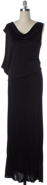 ALEXIS Black Sleeveless High Leg Slit Low Cut Arm Hole Blouson Dress