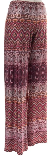 ALEXIS Multi-color Pattern Abstract Pink Red Magenta Stretch Casual Pants