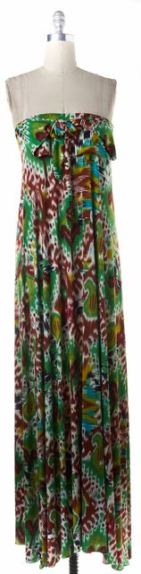 ALEXIS Green Brown White Abstract Print Strapless Maxi Dress