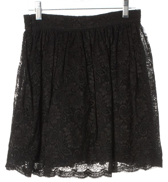 ALEXIS Black Lace Tulle Pleated Above Knee A-Line Skirt