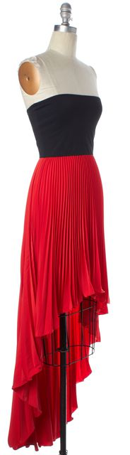 ALEXIS Red Black Color Block Pleated Strapless High-Low Fit & Flare Dress