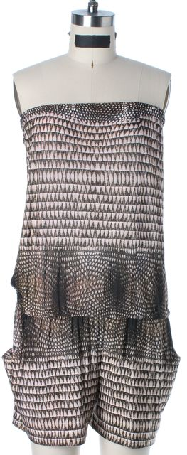 ALEXIS Pink Beige Brown Abstract Printed Strapless Blouson Romper