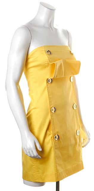 ALEXIS Star Yellow Double Breasted Strapless Sheath Dress