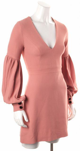ALEXIS Pink Ellena Bell Sleeve V-Neck Sheath Dress