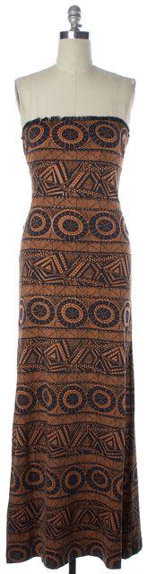 ALEXIS Black Burnt Orange Tribal Printed Fringe Trim Strapless Maxi Dress