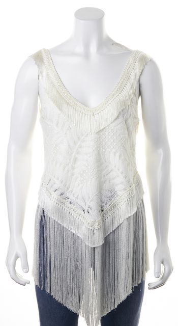 ALEXIS White Cotton Crochet Lace Fringe Trim Sleeveless Blouse Top