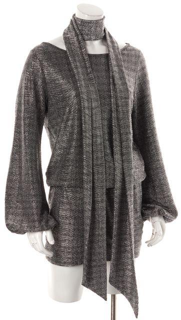 ALEXIS Silver Metallic Blouson Dress