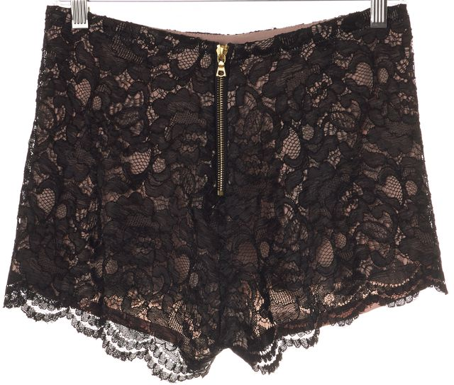 ALEXIS Black Floral Lace Overlay Nude Lined High Rise Dress Short Shorts