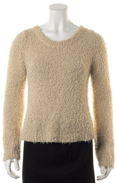 ALEXIS Beige Textured Cotton Chunky Knit Long Sleeve Crewneck Sweater