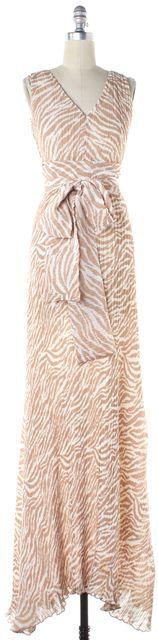 ALEXIS Beige Ivory Zebra Print Tied Sleeveless Maxi Dress