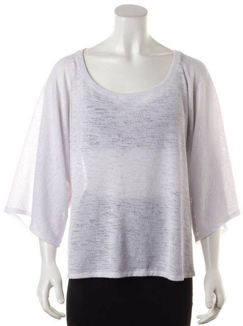 ALEXIS White Semi Sheer Oversized Relaxed Fit Knit Top