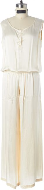 ALEXIS Ivory Textured Satin Sleeveless Blouson Wide Leg Jumpsuit