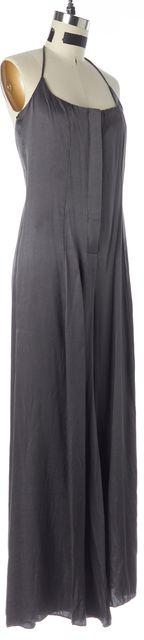 ALEXIS Gray Mini Dot Silk Halter Neck Button Front Jumpsuit