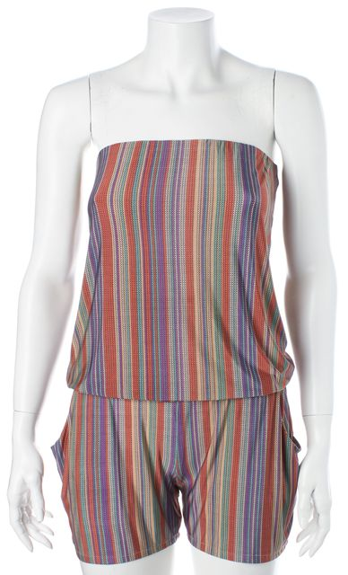 ALEXIS Multi-Color Abstract Striped Strapless Romper