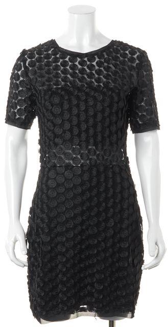 ALEXIS Black Mesh Fringe Dot Embroidered Sheath Dress