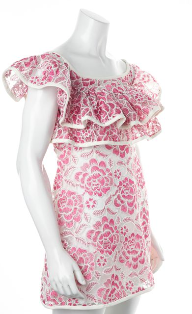 ALEXIS White Pink Floral Lace Scoop Neck Sheath Mini Dress