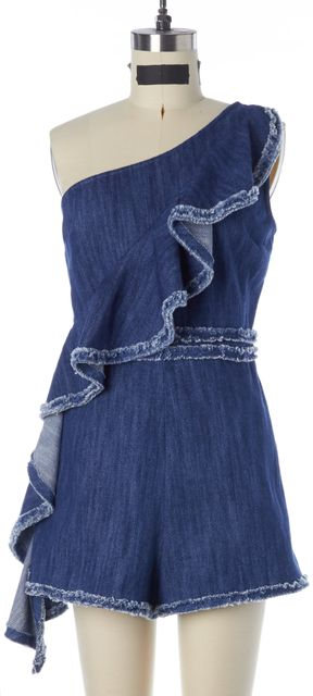 ALEXIS Blue Cotton Denim One Shoulder Ruffled Blakely Romper