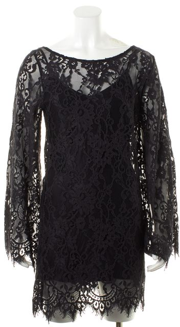 ALEXIS Black Sheer Floral Lace Long Bell Sleeves Shift Mini Dress