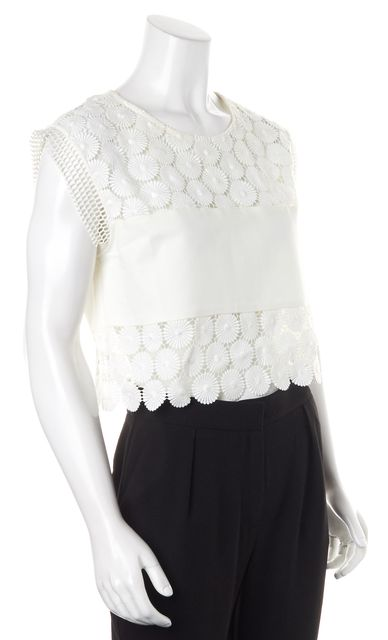 ALEXIS White Floral Lace Sleeveless Blouse