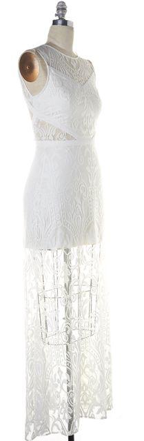 ALEXIS White Lace Sleeveless Open Back Semi Sheer Everly Maxi Dress