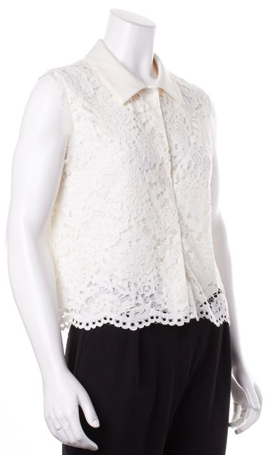 ALEXIS Ivory Lace Button Down Sleeveless Top