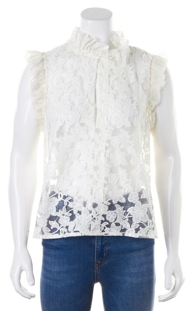 ALEXIS White Floral Embroidered Lace Sleeveless Sheer Fran Blouse Top
