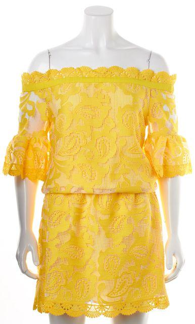 ALEXIS Yellow White Net Lace Off Shoulder Drop Waist Blouson Mini Dress
