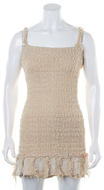 ALEXIS Beige Tweed Pleated Ruffle Hem Bodycon Sheath Mini Dress