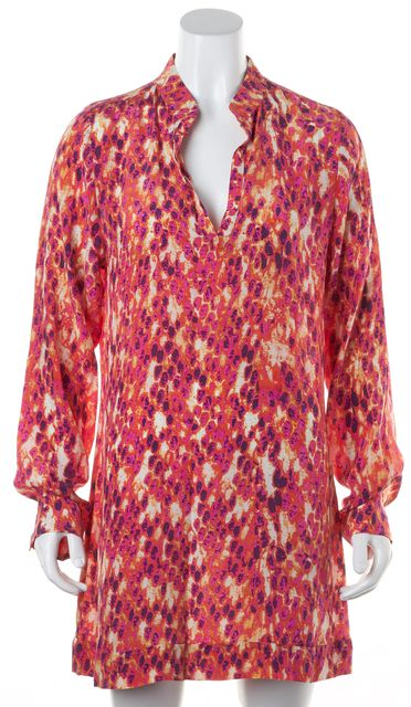 ALEXIS Pink Purple Orange Printed Silk Long Sleeves Mini Tunic Shift Dress