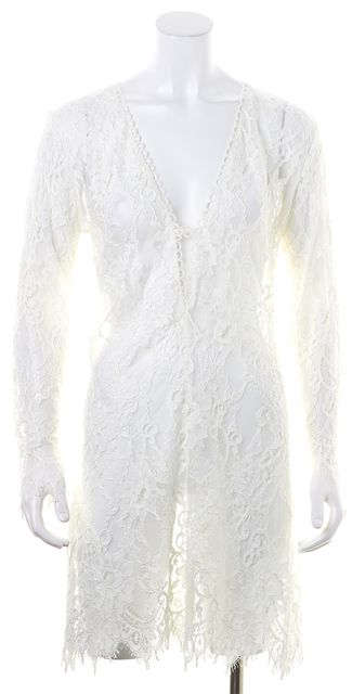 ALEXIS White Super Sheer Fringe Lace Stretch Dress