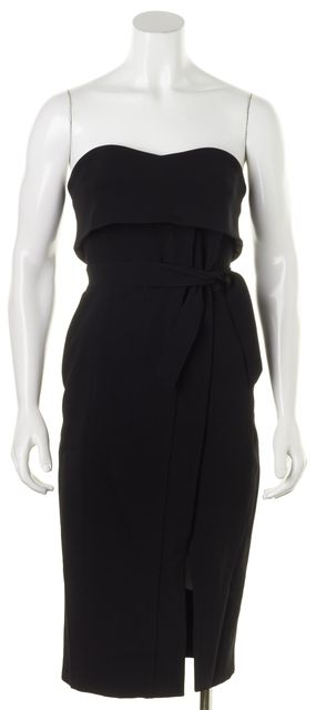 ALEXIS Black Strapless Wrap Effect Knee-Length Sheath Dress