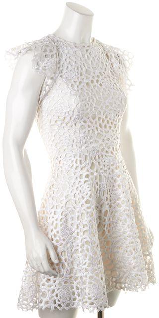 ALEXIS White Crochet Sheer Yoke Fit & Flare Dress
