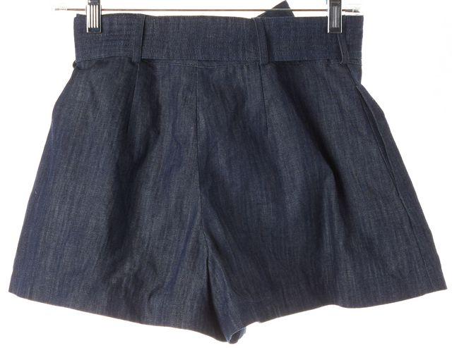 ALEXIS Blue CottonDenim High Rise Waist Tie Short Shorts