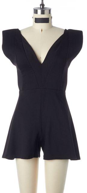 ALEXIS Black Jersey Cap Sleeves V-Neck Romper